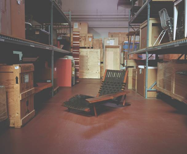 Nakashima lounge chair in warehouse