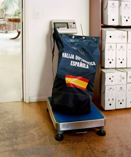 Spanish diplomatic pouch gets weighed for shipping