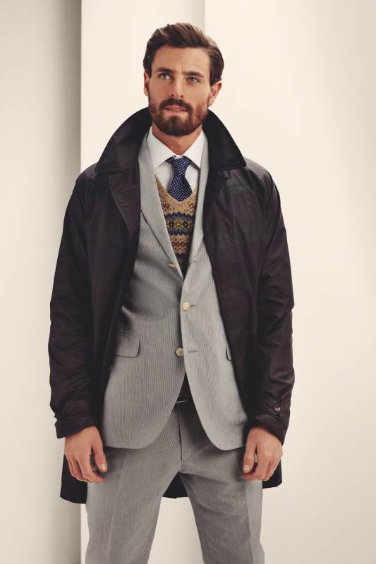 Coat by Baracuta, jacket and trousers by Boglioli, shirt by Belvest, waistcoat by Polo Ralph Lauren, tie by Drake's, belt by J&M Davidson from Trunk